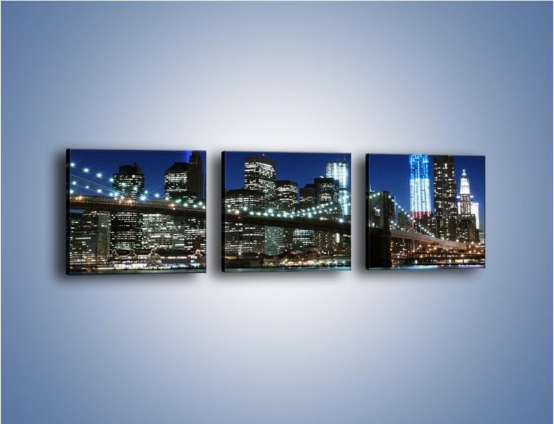 Obraz na płótnie – Most Brookliński nocą – trzyczęściowy AM476W1