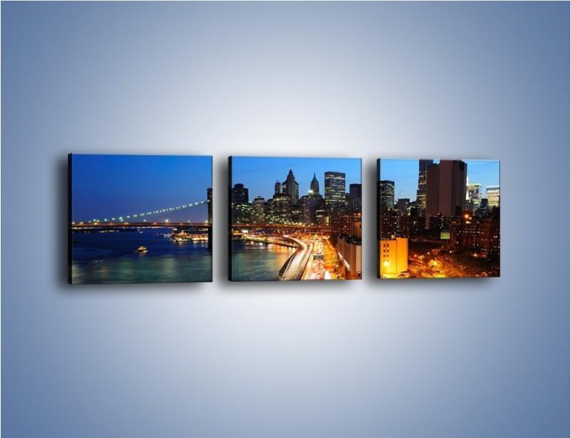 Obraz na płótnie – Manhattan wieczorową porą – trzyczęściowy AM477W1