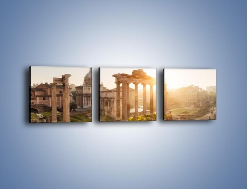 Obraz na płótnie – Rzymskie ruiny o zachodzie słońca – trzyczęściowy AM480W1