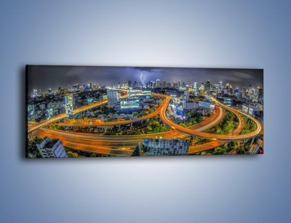 Obraz na płótnie – Burza nad Bangkokiem – jednoczęściowy panoramiczny AM622