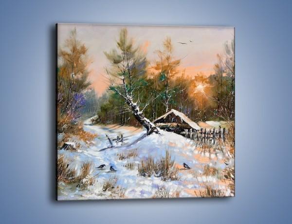 Obraz na płótnie – Zimowy pejzaż o zachodzie słońca – jednoczęściowy kwadratowy GR026