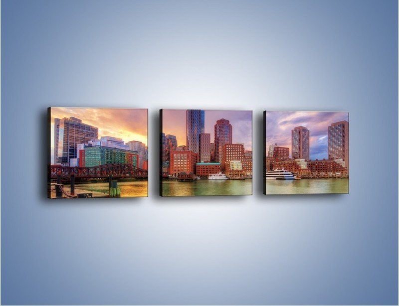Obraz na płótnie – Widok na centrum Bostonu – trzyczęściowy AM486W1