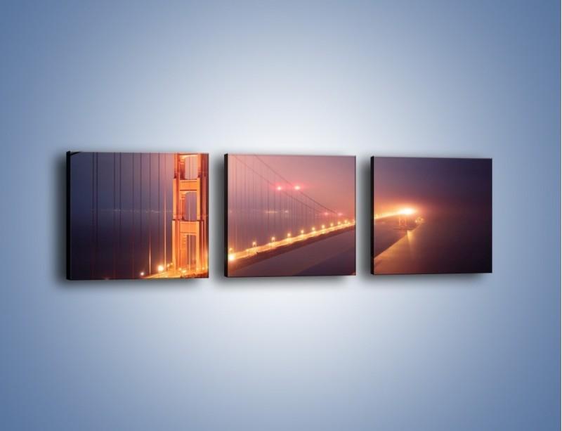 Obraz na płótnie – Most Golden Gate w nocnej mgle – trzyczęściowy AM490W1