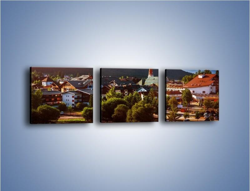 Obraz na płótnie – Austryjackie miasteczko u podnóży gór – trzyczęściowy AM496W1
