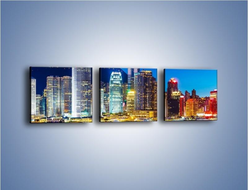 Obraz na płótnie – Oświetlone wieżowce Hong Kongu – trzyczęściowy AM498W1