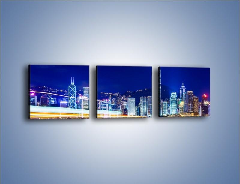 Obraz na płótnie – Panorama Hong Kongu – trzyczęściowy AM499W1