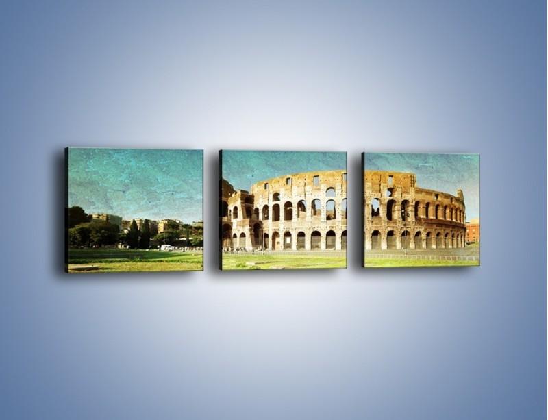 Obraz na płótnie – Koloseum w stylu vintage – trzyczęściowy AM503W1