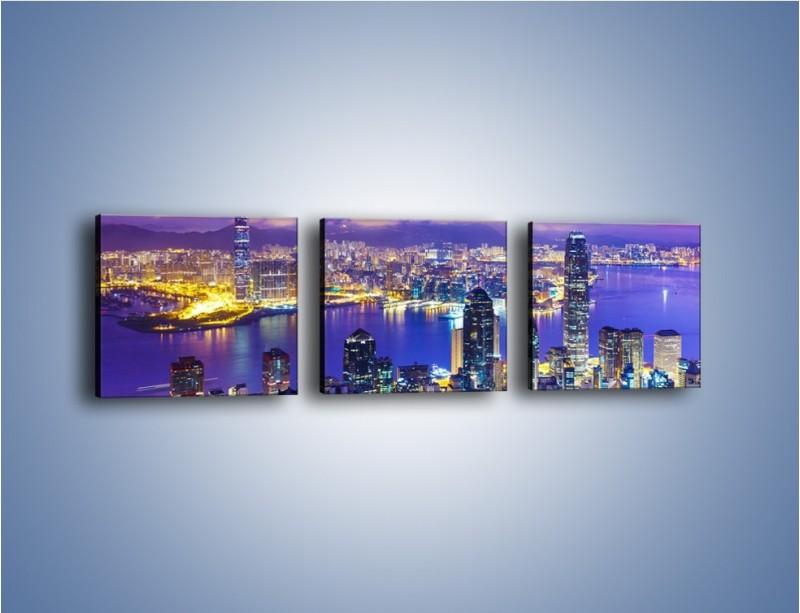 Obraz na płótnie – Wieczorna panorama Hong Kongu – trzyczęściowy AM505W1