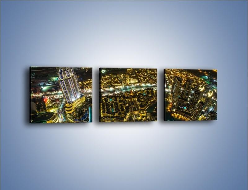 Obraz na płótnie – Dubaj nocą z lotu ptaka – trzyczęściowy AM507W1