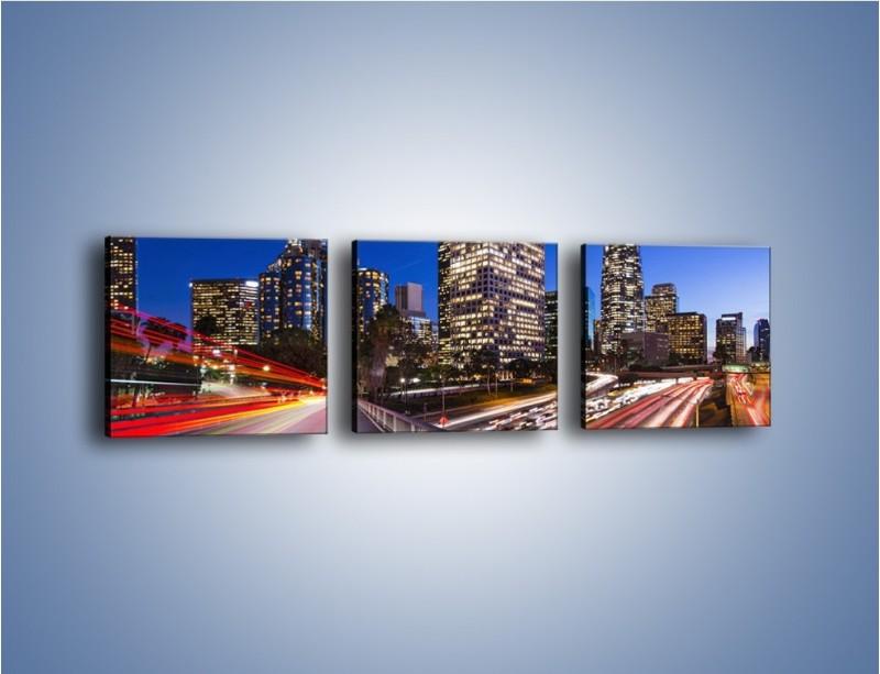 Obraz na płótnie – Los Angeles w wieczornych światłach – trzyczęściowy AM522W1