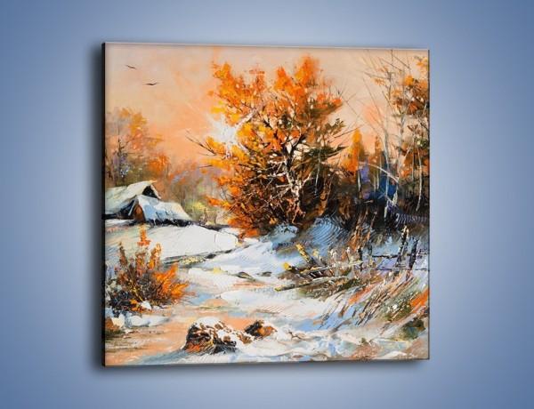 Obraz na płótnie – Zimowy klimat na wsi – jednoczęściowy kwadratowy GR027