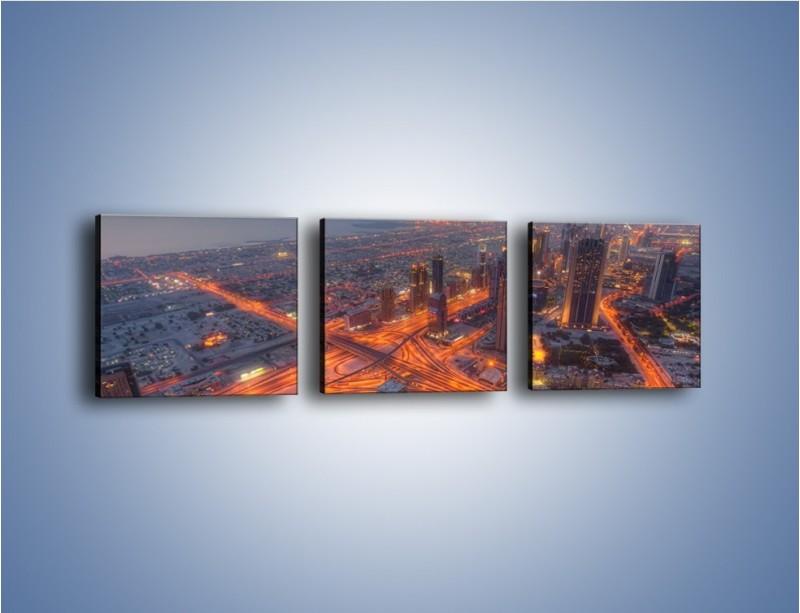 Obraz na płótnie – Panorama Dubaju o poranku – trzyczęściowy AM538W1