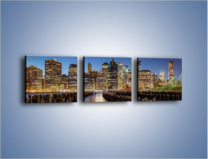Obraz na płótnie – Zniszczone molo i widok na Manhattan – trzyczęściowy AM601W1