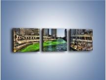 Obraz na płótnie – Chicago River w Dzień św. Patryka – trzyczęściowy AM605W1