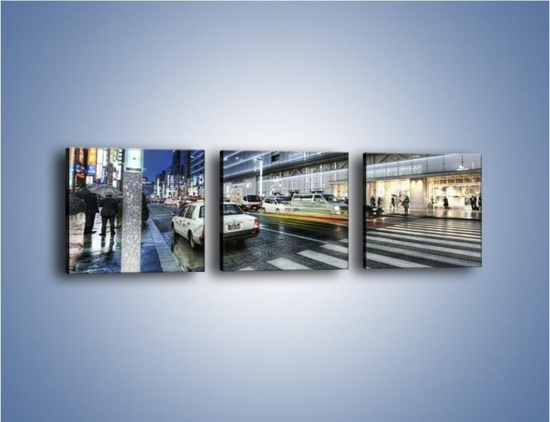 Obraz na płótnie – Ulica Tokyo w deszczu – trzyczęściowy AM613W1