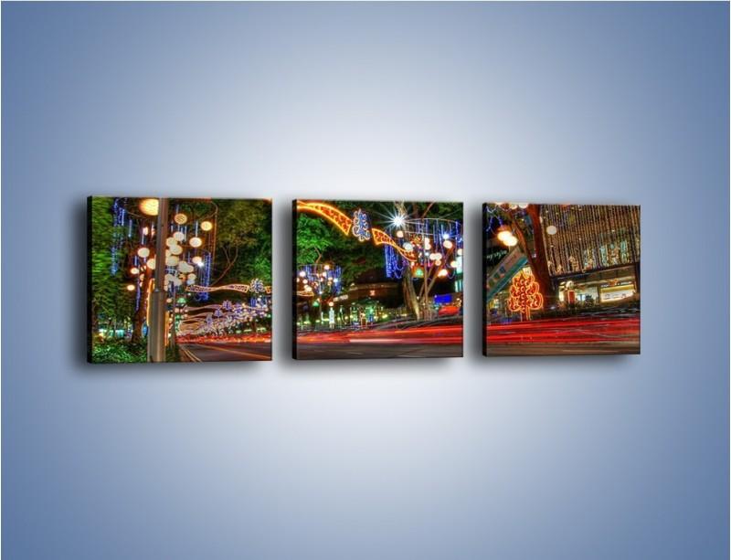Obraz na płótnie – Noworoczne dekoracje w Singapurze – trzyczęściowy AM616W1