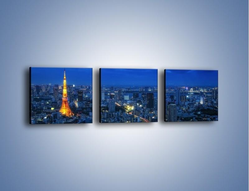 Obraz na płótnie – Tokyo Tower w Japonii – trzyczęściowy AM621W1