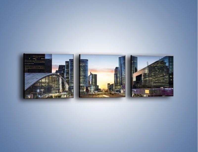 Obraz na płótnie – Quartier La Défense w Paryżu – trzyczęściowy AM647W1