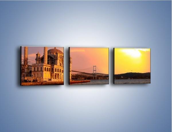 Obraz na płótnie – Meczet w blasku zachodzącego słońca – trzyczęściowy AM655W1