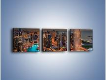 Obraz na płótnie – Centrum Dubaju wieczorową porą – trzyczęściowy AM656W1