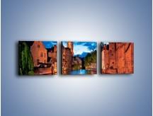 Obraz na płótnie – Budynki wzdłuż kanału w Brugii – trzyczęściowy AM667W1