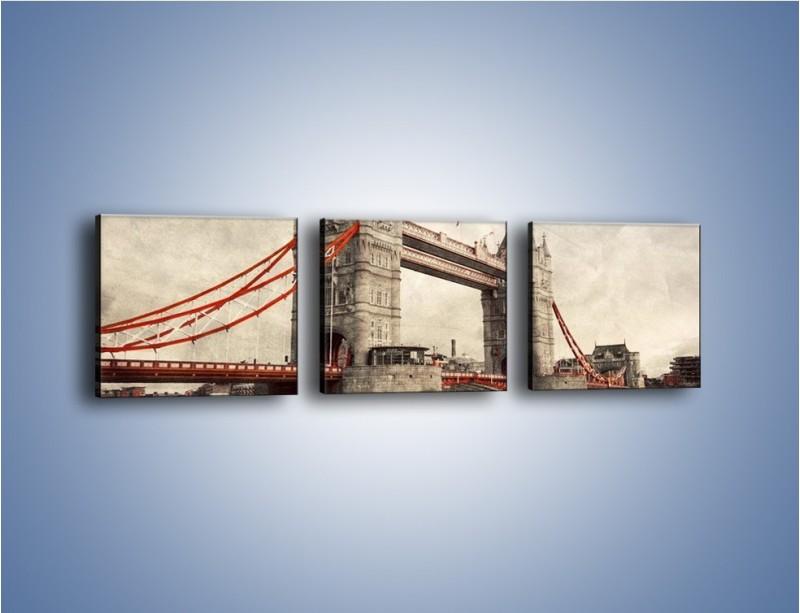 Obraz na płótnie – Tower Bridge w stylu vintage – trzyczęściowy AM668W1
