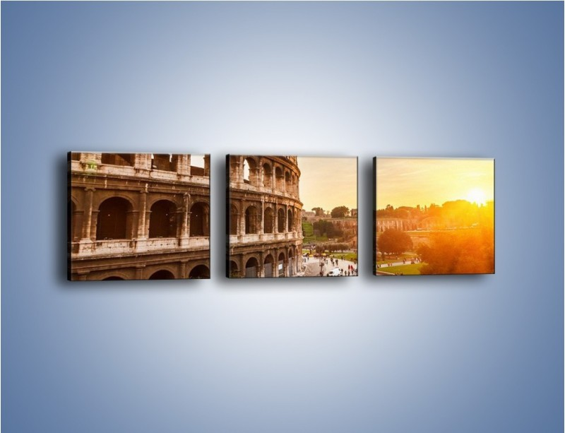 Obraz na płótnie – Rzymskie Koloseum o zachodzie słońca – trzyczęściowy AM684W1