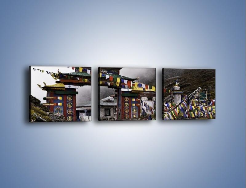 Obraz na płótnie – Brama do miasta Tawang w Tybecie – trzyczęściowy AM689W1