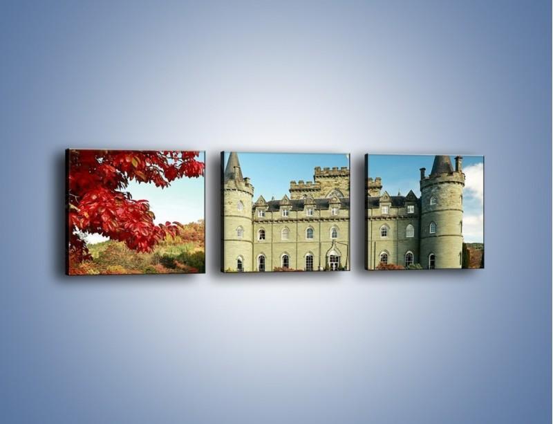 Obraz na płótnie – Zamek Inveraray w Szkocji – trzyczęściowy AM691W1