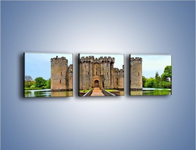 Obraz na płótnie – Zamek Bodiam w Wielkiej Brytanii – trzyczęściowy AM692W1