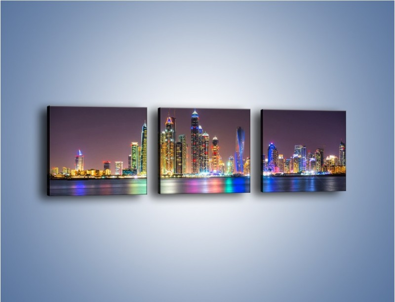 Obraz na płótnie – Kolorowe drapacze chmur w Dubaju – trzyczęściowy AM724W1