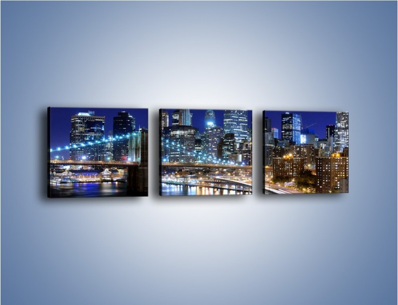 Obraz na płótnie – Nocne światła Nowego Yorku – trzyczęściowy AM726W1