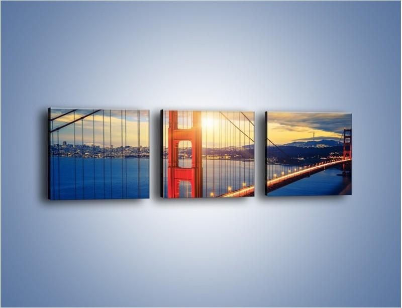 Obraz na płótnie – Zachód słońca nad Mostem Golden Gate – trzyczęściowy AM738W1