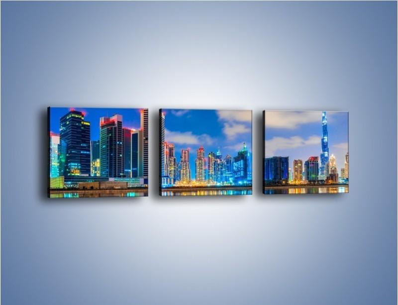 Obraz na płótnie – Kolory Dubaju odbite w wodzie – trzyczęściowy AM740W1
