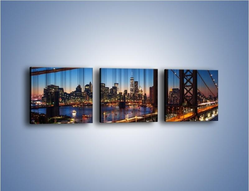Obraz na płótnie – Nowojorskie mosty na tle Manhattanu – trzyczęściowy AM751W1