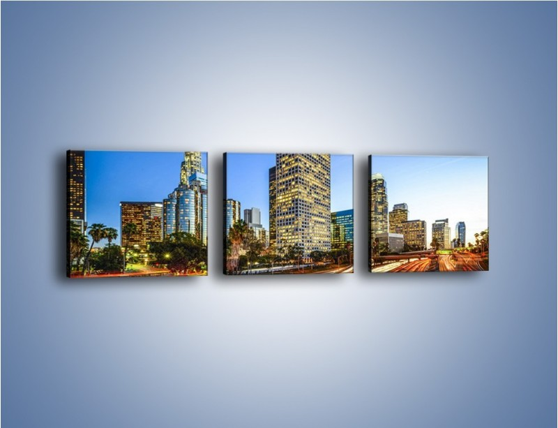 Obraz na płótnie – Światła Los Angeles o zmierzchu – trzyczęściowy AM753W1