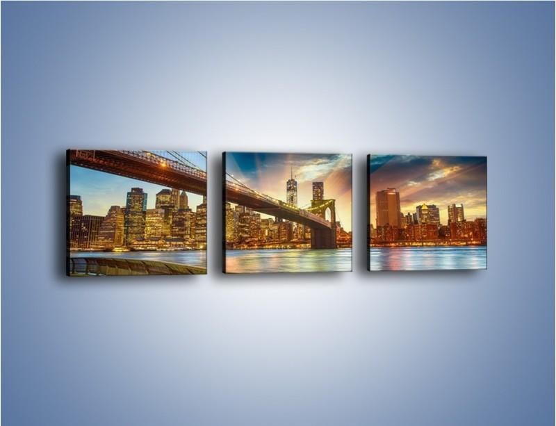 Obraz na płótnie – Most w Nowym Jorku o zmierzchu – trzyczęściowy AM754W1
