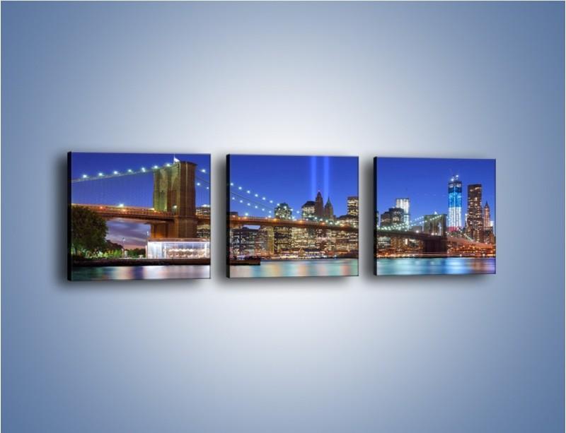 Obraz na płótnie – Świetlne kolumny w Nowym Jorku – trzyczęściowy AM757W1