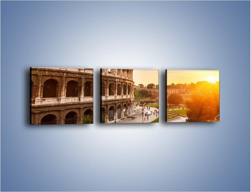 Obraz na płótnie – Zachód słońca nad Rzymem – trzyczęściowy AM763W1