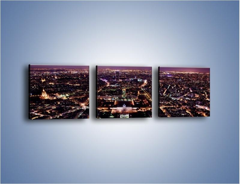 Obraz na płótnie – Panorama Paryża z Wieży Eiffla – trzyczęściowy AM764W1