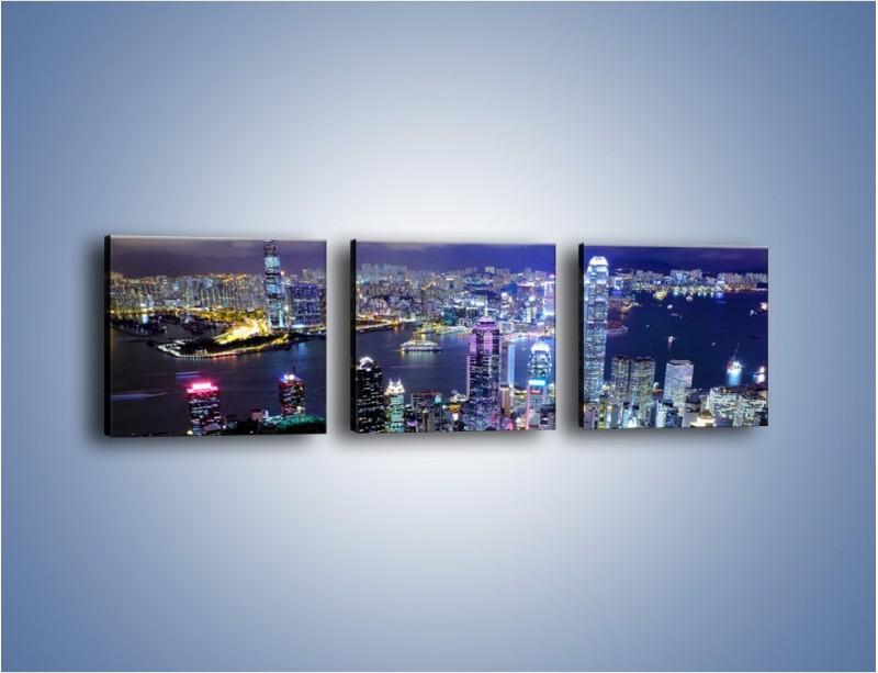 Obraz na płótnie – Nocna panorama Hong Kongu – trzyczęściowy AM772W1