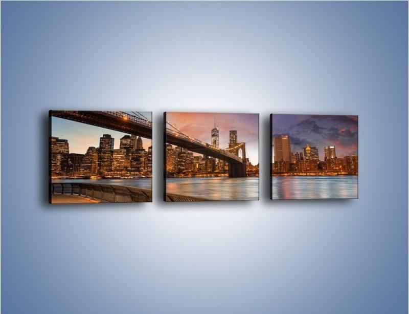 Obraz na płótnie – Zmierzch nad Mostem Brooklińskim – trzyczęściowy AM793W1