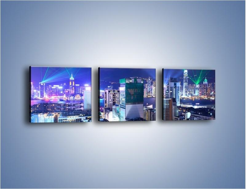Obraz na płótnie – Pokaz laserów nad Hong Kongiem – trzyczęściowy AM796W1