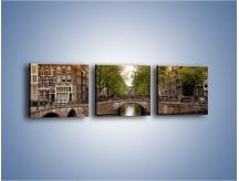 Obraz na płótnie – Amsterdamski kanał – trzyczęściowy AM800W1