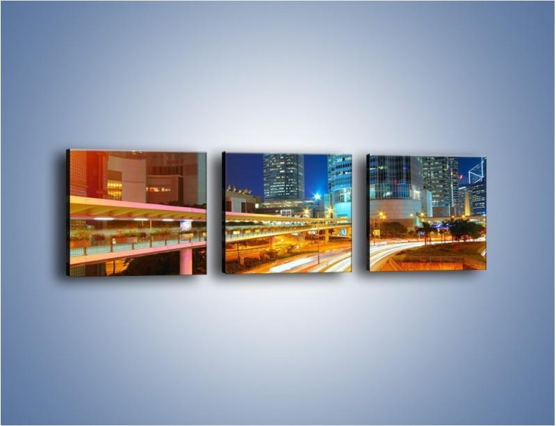 Obraz na płótnie – Nocne kolory miasta – trzyczęściowy AM808W1