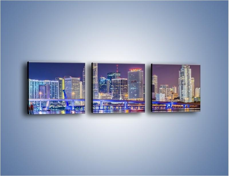Obraz na płótnie – Światla Miami w odbiciu wód Biscayne Bay – trzyczęściowy AM813W1