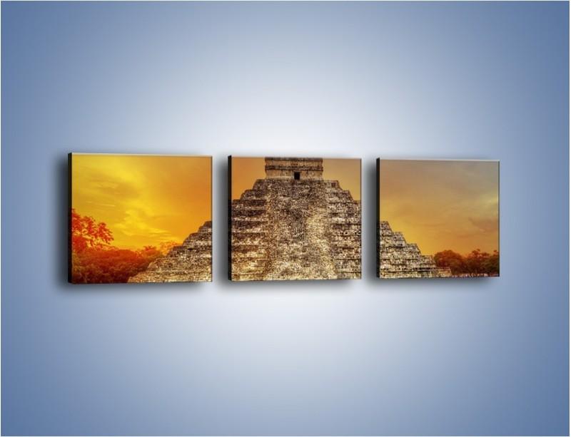 Obraz na płótnie – Piramida Kukulkana w Meksyku – trzyczęściowy AM814W1