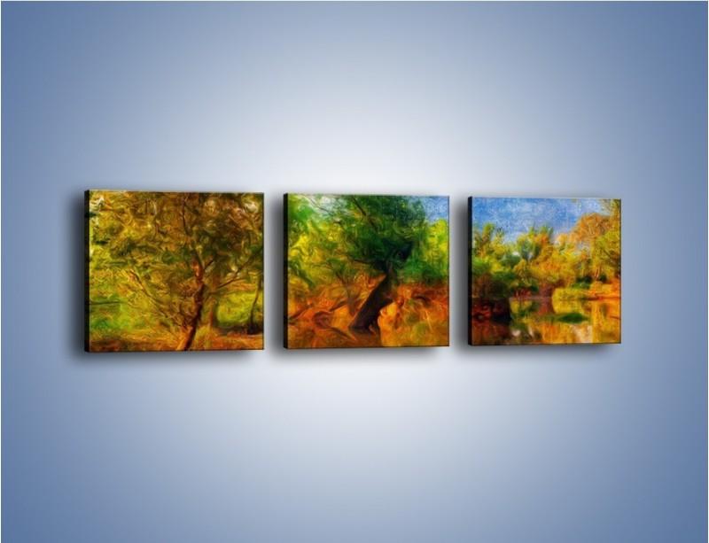 Obraz na płótnie – Drzewa w wodnym lustrze – trzyczęściowy GR010W1