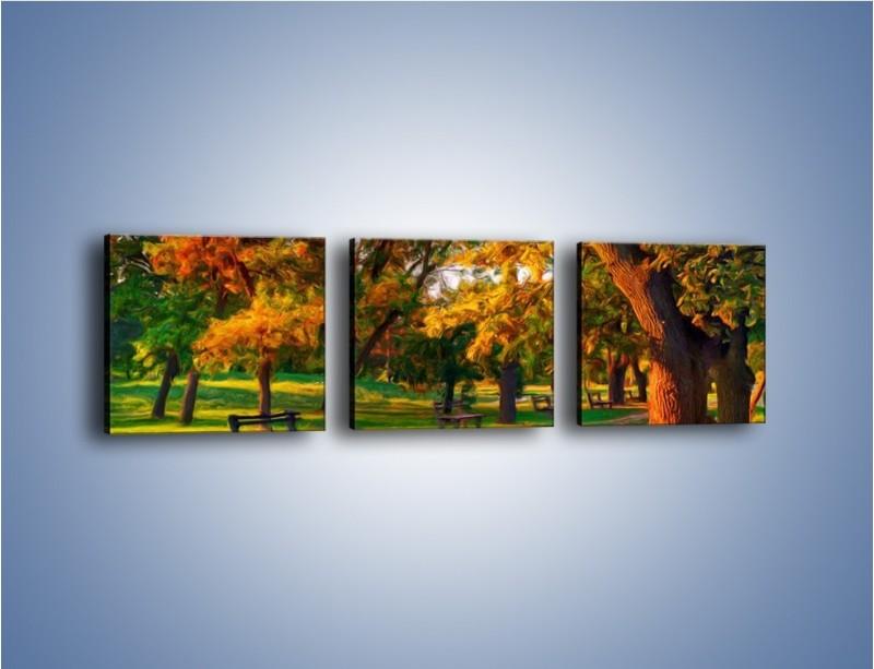 Obraz na płótnie – Ławeczka w parku – trzyczęściowy GR011W1