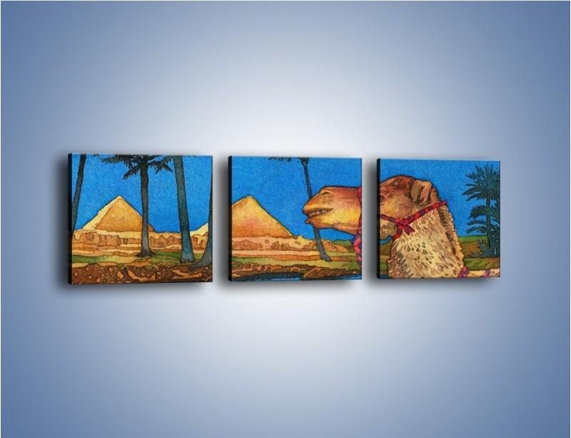 Obraz na płótnie – Piramidy i uśmiechnięty wielbłąd – trzyczęściowy GR047W1